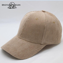 [BINGYUANHAOXUAN]Women Hat Cap Casual Ladies Dad Hat Men Brand 6 panel Corduroy Baseball Cap Bone Male Female Snapback Casquette