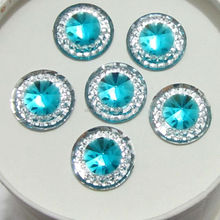 HOT 30 pieces/lot 12mm Round Resin FlatBack Appliques/wedding DIY craft rhinestone C207(China)