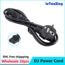 10pcs EU AC Power Cord Extension Adapter Cable 1.2M Europe EU Plug For PC Desktop Monitor Computer Appliance DHL Free shipping