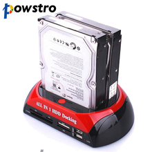 "SATA IDE HDD Dock Station HUB 2.5"" 3.5"" POWSTRO Dual Docking External Storage Enclosure SSD HDD Case Box with Card Reader OTB"