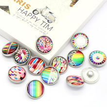 2017 New Fashion 12pcs High Quality 18mm Mixed Color pencil Glass Metal Snaps buttons DIY Snap Charms Jewelry Bracelet&Bangle