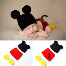 Baby Boy Cartoon Mickey Photo Props New Style Baby Crochet Photography Props Newborn Coming Home Outfits 1set MZS-16032(China)