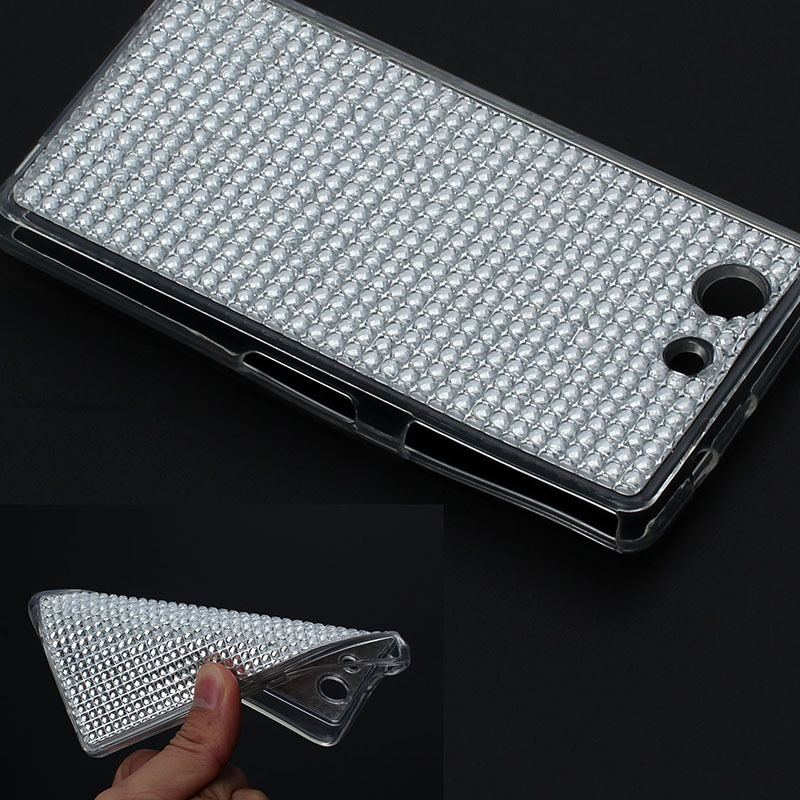 fashion Shiny bling Soft round diamond brilliant Crystal protector skin TPU Case For Sony for Xperia Z3 Compact Mini back cover(China (Mainland))