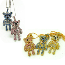 Hot Sale Usb 2.0 Flash Drive Crystal Diamond Heart Bear Usb Pendrive 4G 8G 16G 32G Jewelry Pen Drive Pendriver Necklace Gift