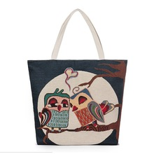 Fashion Mid Size Canvas Print Owl Embroidery Fresh Style Women Shoulder Shopping Bag Canvas Artistic Creative Handbags Bag