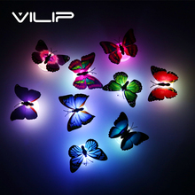 10 pcs/lot New arrival Beautiful Butterfly LED Night Light Lamp with Suction pad for Christmas Wedding Decoration Night Lamp S(China)