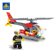 KAZI Fire Rescue Building Blocks Model Helicopter Aircraft Block Bricks Brinquedos Intelligence Toys for Kids 6+Ages 8056