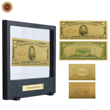 WR 1928 Year Colorful Gold Banknote US 2 Dollar American Note Money Currency Bill Note with Black Clear Box for Home Decor(China)