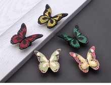 Colorful Butterfly knobs Drawer Handle Pulls Flower Knobs Kitchen Cabinet Handle knobs Furniture Hardware(China)