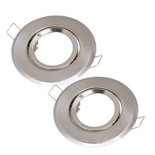 MR16 Polished Chrome Fitting Fixture Lamp Holders Ceiling Spot Downlights Silver Pack of 2(China)