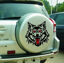 Car Styling 30cm Wolf Head For Ford Wing Car Wing Stroke Special Spare Tire Cover Sticker RAV4 Langtou Stick R-149 Decal