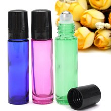 3pcs 10ml Mixed Color Thick Roll On Glass Bottle Metal Roller Ball Fragrances Essential Oil Bottles Beauty Makeup Tool 2017(China)