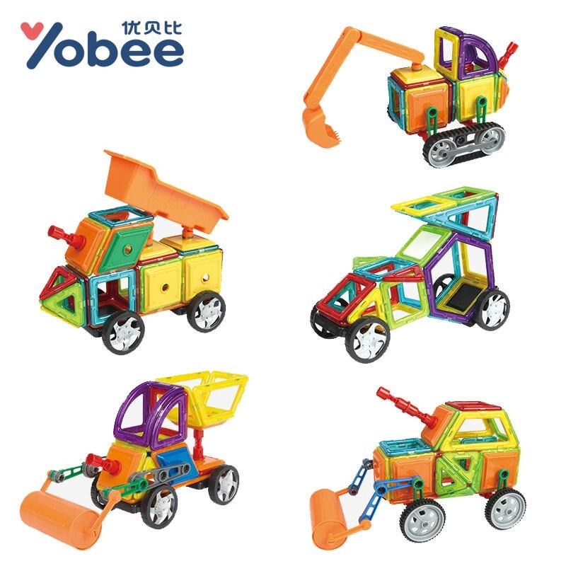 75-78PCS Magnetic Building Blocks Enlighten Toys Assemble Bricks Excavator Model Building Kits Children Learning Education Toy<br>