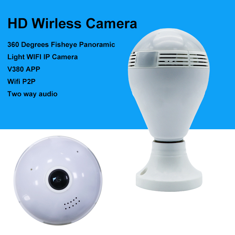 New Network camera VR 360 degrees wifi wirless 3D Fisheye Panoramic light Camera network light bulb Home security IP camera<br>