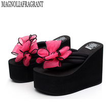 2017 Summer Shoes Bow Women High Heel Slippers Leather Soft Platform sandals Ladies Wedges Sandals woman Flip Flops k2(China)