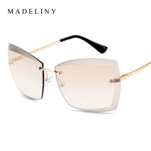 MADELINY NEW Women Rimless Sunglasses Brand Designer Vintage Gradient Sun Glasses 2017 Square Summer Glasses Oculos MA256(China)