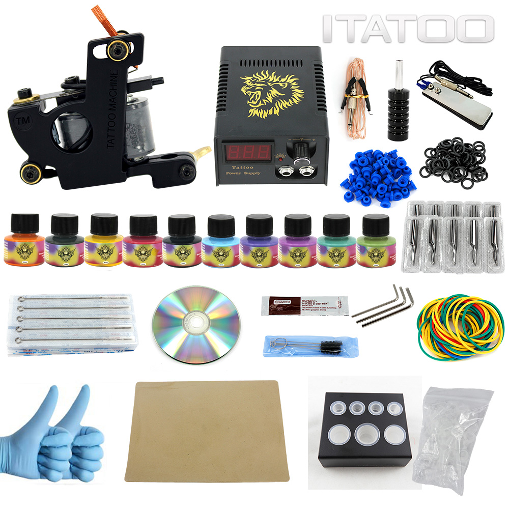 ITATOO Complete Tattoo Kit 1 Pro Machine 10 Color Inks Power Supply Set 30 Tattoo Needles Mixed TK1000009<br>