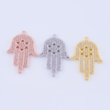 Supplies For Jewelry Wholesale Copper Accessories Hamsa Hand Charms Connectors For Bracelet Necklace DIY Jewellery Findings(China)