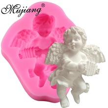 Cute Angel Boy With Electronic Organ Shape 3D Silicone Cake Mold Soap Candle Molds Kitchen Baking Fondant Cake Decorating Tools(China)