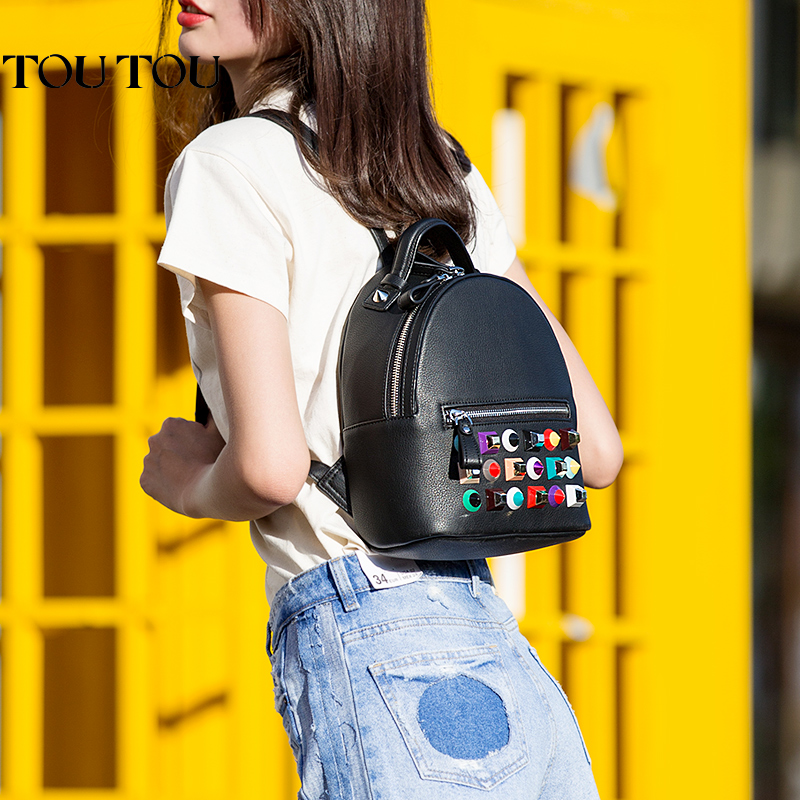 TT059 Womens candy rivet Sequins Leather Backpack children backpacks mini women back Bag fashion small back pack for teenage<br>