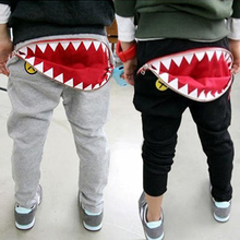 New 2017 Autumn shark Baby pants girls boys casual Mouth teeth cotton harem pants cartoon pattern Toddler kids trousers
