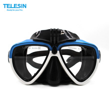 TELESIN Scuba Diving Mask Goggles Swimming Face Mask with Bracket Mount for GoPro SJCAM Dazzne Xiaomi Yi Sports Action Camera(China)