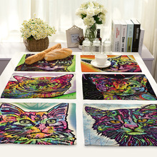 CAMMITEVER Rainbow Cat Kitchen Table Mat Placemat Pot Holder Kitchen Accessories Desk Drink Wine Coasters Placemat Holder