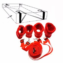 Sex Furniture Nylon + Plush Under Bed Restraint System, Bondage Restraints Kit Handcuffs &Ankle Cuffs Erotic Adult Sex Toys(China)