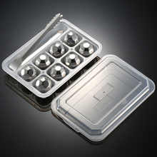 On Sale 4/6/8 PCS Stainless Steel 304 Whisky Stones Ice Cubes in Package, Whiskey Cooler Rocks,Ice stones,GIFT With Plastic Box