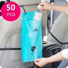 Creative used to paste 50pcs cars Storage Bag Hanging Breathable Plastic Garbage Bag Pouch Convenient Extraction Storage bags