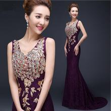 Free shipping Wholesale 2017 new long paragraph tasting dress bride dress fish tail shoulder lace fashion evening dress