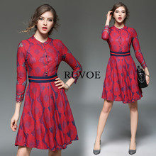 Elegant Red Club Dresses Floral Cute Fit and Flare Dress O-Neck Work Dress Embroidered Wrist Sleeve Mini Casual Party Dress LM15(China)