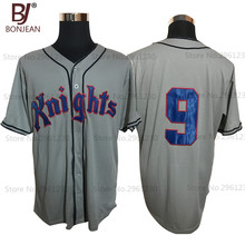 BONJEAN Roy Hobbs #9 New York Knights The Natural Grey/White Movie Stitched Baseball Jersey Button Down Throwback Mens Jerseys(China)
