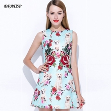 2017 Runway Designer Summer Dress Women's Sleeveless Tank Animal Doggie Rose Floral Print Embroidered Casual Blue Mini Dress(China)
