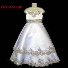 2017 Custom sizes New Beautiful flower girl dress Top quality Wholesale price Real photo 100% same as the real photo Sky-482(China)