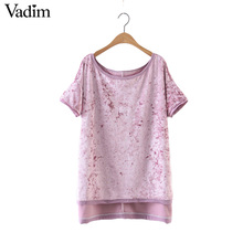 Women oversized velvet T shirt vintage solid short sleeve o neck loose tees ladies spring casual brand tops camiseta DT869