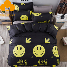 MECEROCK New Coming Geometric Pattern Bedding Set Emoji Pattern Duvet Cover Set Flat Sheet Pillowcases Twin Full Queen King Size