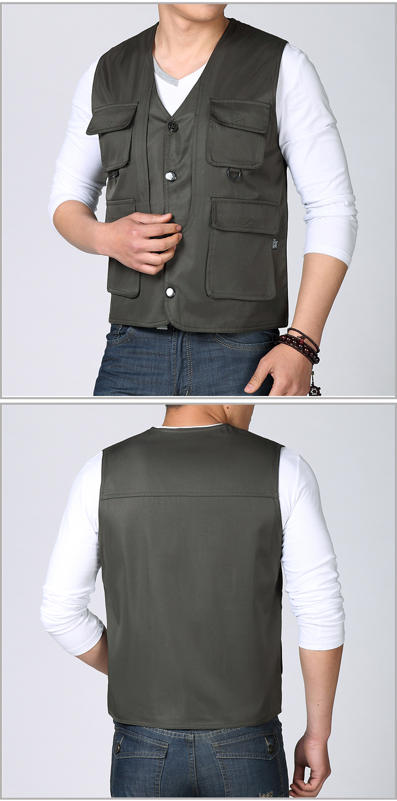 Spring Autumn Man Casual Vest Army Green Black Waistcoat For Men Leisure Gilet Male Herringbone Vest Multi Pockets Waistcoat Mens Weskit (5)