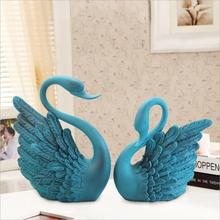 European style Handicraft Blue resin Swan Creative Home decoration Living room Furnishing articles decoration Business Gifts(China)