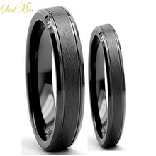 Soul Men Jewelry 1 Pair Cool Mens & Womens Black Tungsten Carbide Engagement Couple Rings Set 6MM for Male 4MM For Female