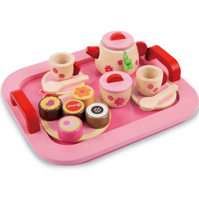 19pcs Children Pink Wooden Food Pretend Play Toy Set Pretend Play Afternoon Tea Set with Bread Classic Educational Toys Gifts