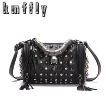 New Skull Bucket Bags Rivet Sheepskin Women Tote Bag 2017 Diamonds Luxury Women Designer Handbag High Quality Brand Shoulder bag(China)