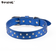 T-MENG 4 Colors Diamonds Dog Collar Soft Genuine Leather With Two Row Rhinestone Bling Pet Collars For Small And Large dogs(China)