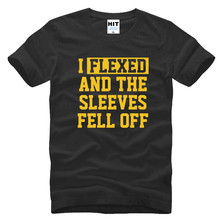 I Flexed And The Sleeves Fell Off Creative Funny Humor Letter Printed Mens Men T Shirt T-shirt(China)