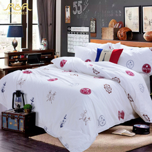 ROMORUS Big Sale White Pirate Hotel/Home Bedding Set Sea Captain Fashion Duvet Cover for Bedroom Luxury 100% Cotton Bedlinen
