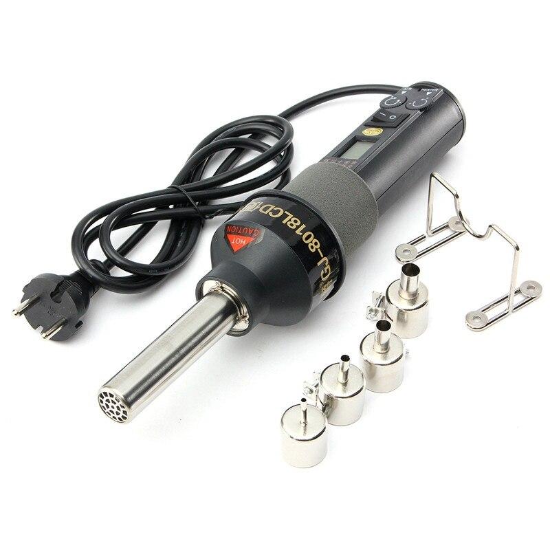 LCD Soldering Station Hot Air Gun Portable Adjustable Temperature Desoldering IC SMD BGA Rework 4 Nozzle 220V 450W<br>