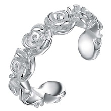 Hot Fashion Rose Flowers silver plated women wedding ring (opening)(China)