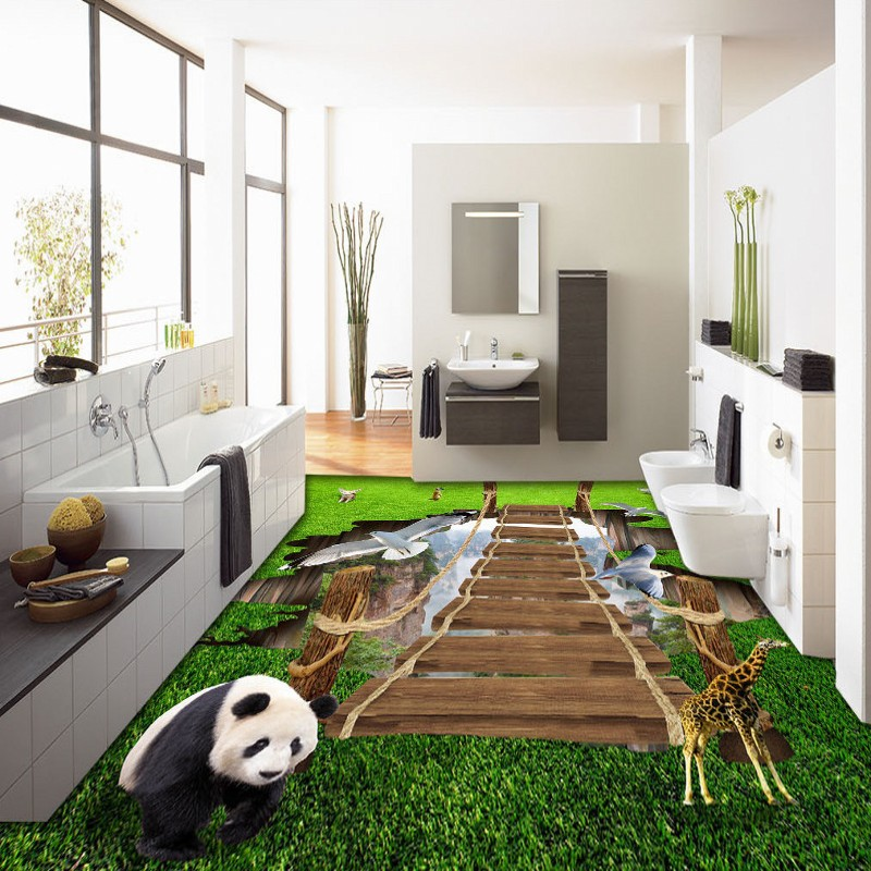 Free shipping lobby bedroom flooring 3d custom Wooden Bridge Animal World Painting thickened bathroom wallpaper chinese mural<br>