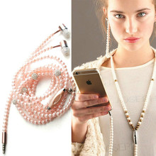 2017 Fashion Pink girl wired headset Rhinestone Jewelry Pearl Necklace Earphones With Mic 3.5mm Earbuds For Xiaomi mi6 kulaklik(China)
