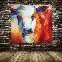 100% Free Shipping Hand Painted Pictures Animal Oil Painting On Canvas Fat Cow Abstract on Canvas Art Work Home Decoration
